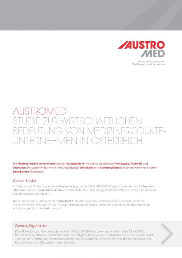 AUSTROMED Studie zur wirtschaftlichen Bedeutung von Medizinprodukteunternehmen in Österreich - Cover